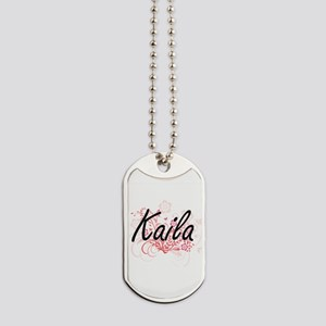 Kaila Artistic Name Design with Flowers Dog Tags