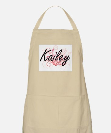 Kailey Artistic Name Design with Flowers Apron