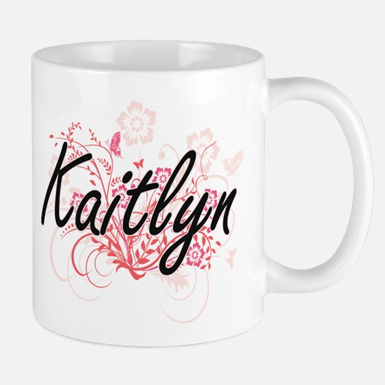 Kaitlyn Artistic Name Design with Flowers Mugs