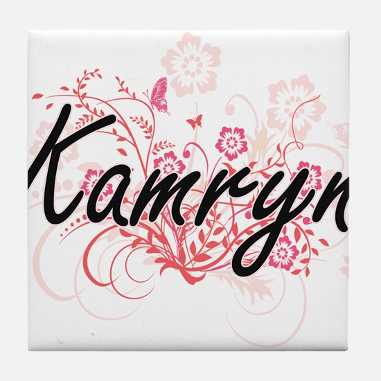 Kamryn Artistic Name Design with Flow Tile Coaster
