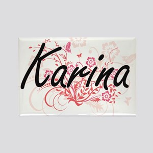 Karina Artistic Name Design with Flowers Magnets