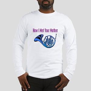 Blue French Horn Long Sleeve T-Shirt
