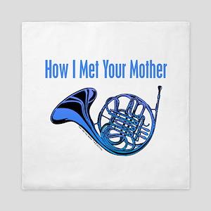Blue French Horn Queen Duvet