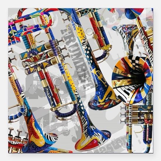 "Unique Trumpet Square Car Magnet 3"" x 3"""