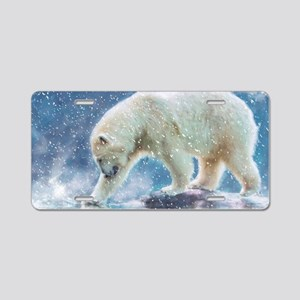A polar bear at the water Aluminum License Plate
