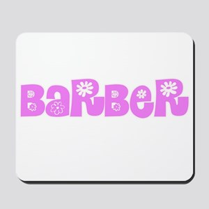 Barber Pink Flower Design Mousepad
