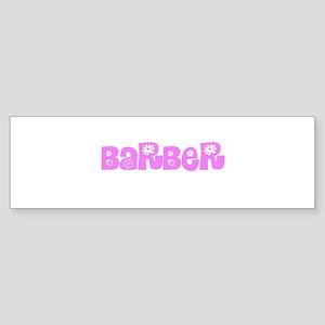 Barber Pink Flower Design Bumper Sticker