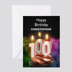 100th Birthday Add A Name Cupcake Greeting Cards