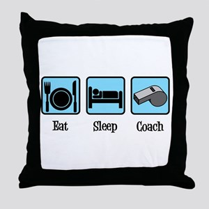 Eat Sleep Coach Throw Pillow