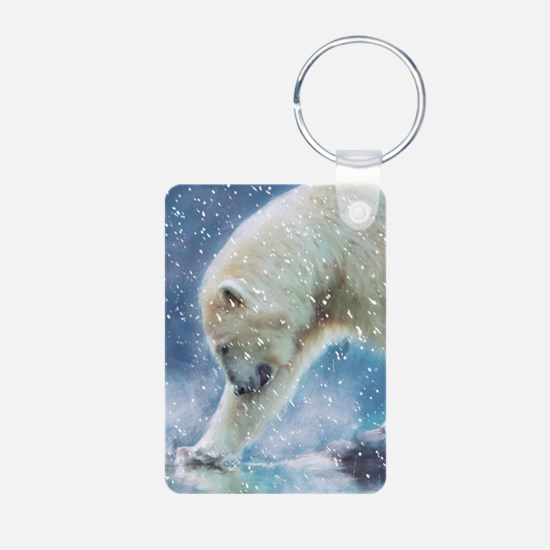 A polar bear at the water Keychains