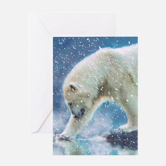 A polar bear at the water Greeting Cards