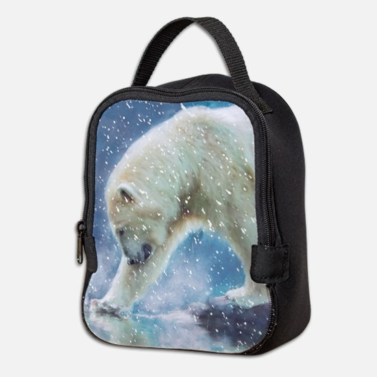 A polar bear at the water Neoprene Lunch Bag
