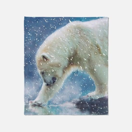 A polar bear at the water Throw Blanket