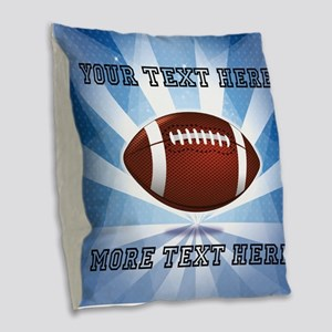 Personalized Football Burlap Throw Pillow