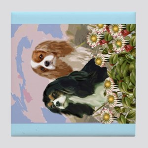Two Cavaliers in the garden Tile Coaster