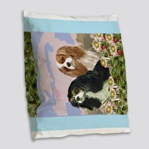 Two Cavaliers in the garden Burlap Throw Pillow