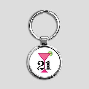 21st Birthday Pink Cocktail Keychains