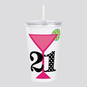 21st Birthday Pink Cocktail Acrylic Double-wall Tu