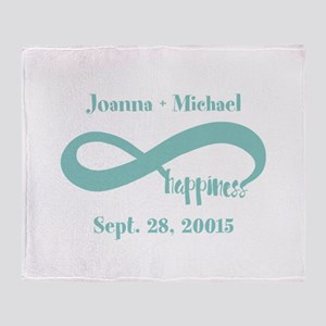 Infinity Happiness Custom Names Throw Blanket