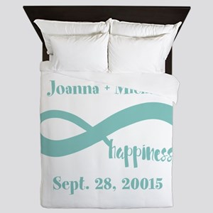 Infinity Happiness Custom Names Queen Duvet