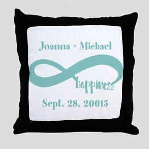 Infinity Happiness Custom Names Throw Pillow