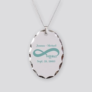 Infinity Happiness Custom Name Necklace Oval Charm