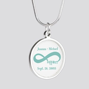Infinity Happiness Custom Na Silver Round Necklace