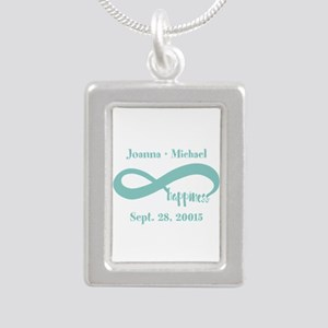 Infinity Happiness Custo Silver Portrait Necklace