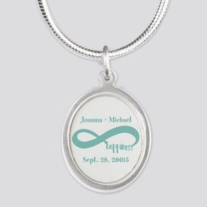 Infinity Happiness Custom Nam Silver Oval Necklace