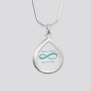 Infinity Happiness Custo Silver Teardrop Necklace