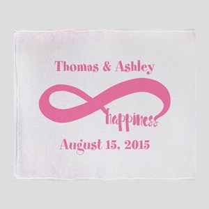 Pink Custom Infinite Happiness Throw Blanket