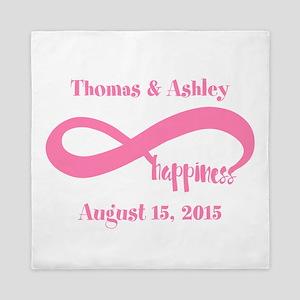 Pink Custom Infinite Happiness Queen Duvet