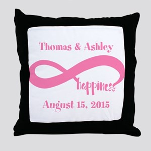 Pink Custom Infinite Happiness Throw Pillow