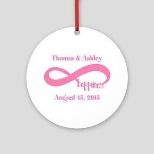 Pink Custom Infinite Happiness Round Ornament