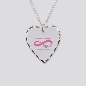 Pink Custom Infinite Happines Necklace Heart Charm
