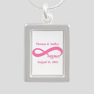 Pink Custom Infinite Hap Silver Portrait Necklace