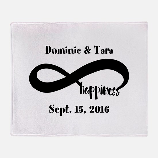 Bride and Groom Infinity Modern Happ Throw Blanket
