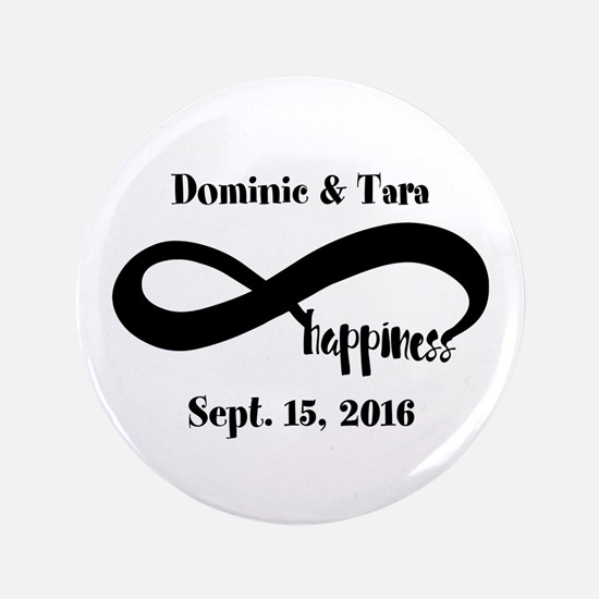 Bride and Groom Infinity Modern Happiness Button