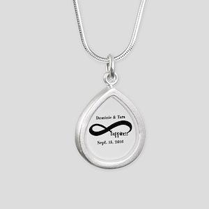 Bride and Groom Infinity Silver Teardrop Necklace