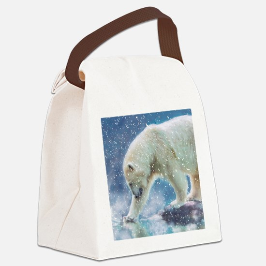 A polar bear at the water Canvas Lunch Bag