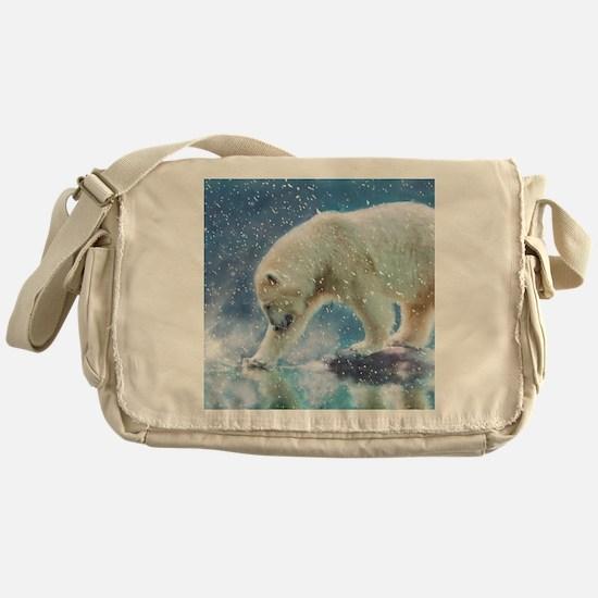 A polar bear at the water Messenger Bag