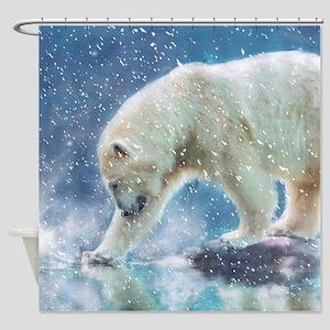 A polar bear at the water Shower Curtain