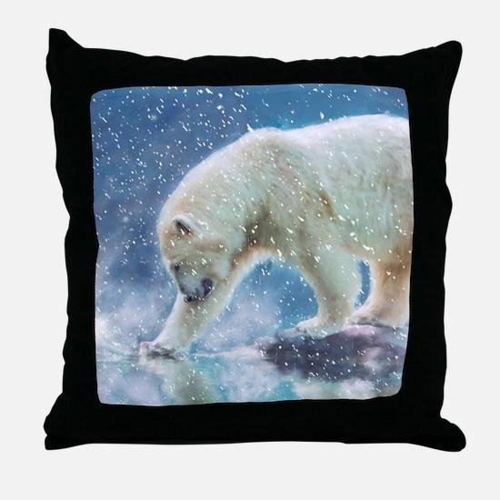 A polar bear at the water Throw Pillow