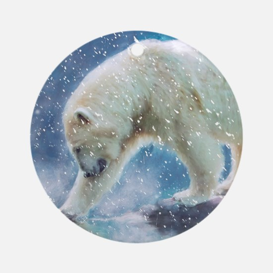 A polar bear at the water Round Ornament