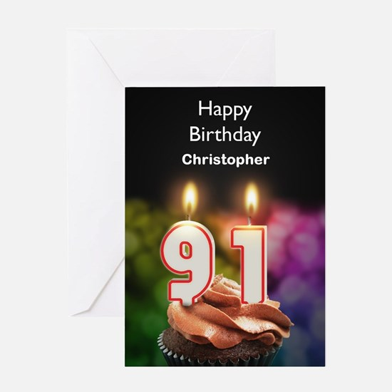 91st Birthday, Add A Name Cupcake Greeting Cards