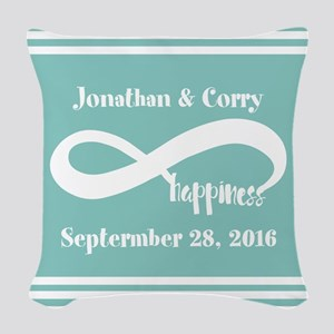 Custom Names Infinity Happines Woven Throw Pillow