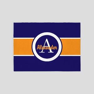 Navy Blue Orange Monogram 5'x7'area Rug