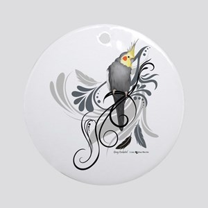 Gray Cockatiel Round Ornament