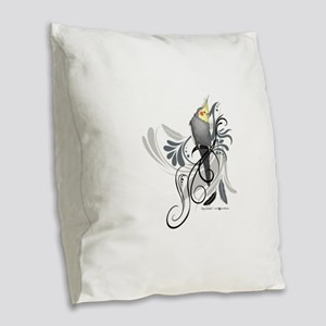 Gray Cockatiel Burlap Throw Pillow