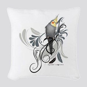 Gray Cockatiel Woven Throw Pillow